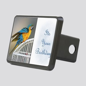 Blue  Gold Birthday Card Rectangular Hitch Cover