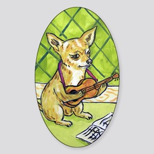 Chihuahua Playing Guitar Sticker (Oval)