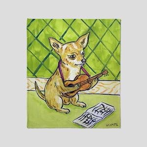 Chihuahua Playing Guitar Throw Blanket