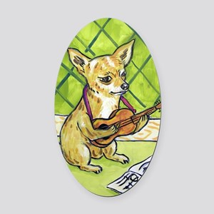 Chihuahua Playing Guitar Oval Car Magnet
