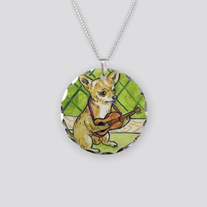 Chihuahua Playing Guitar Necklace Circle Charm