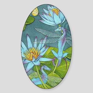 Lotus Dragon Flies Sticker (Oval)