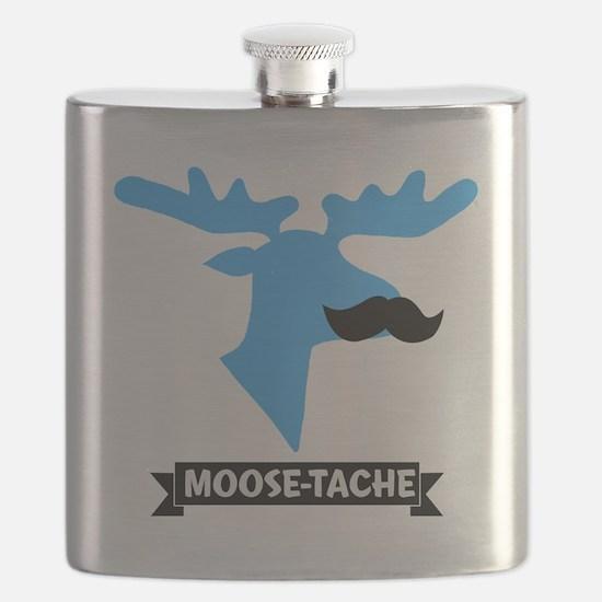 Moose-Tache Mustache Humor Flask