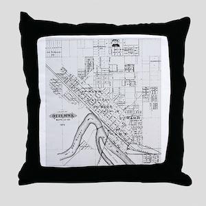 1875 Ottumwa Map Throw Pillow