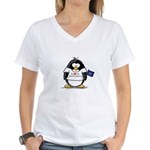 North Dakota Penguin Women's V-Neck T-Shirt