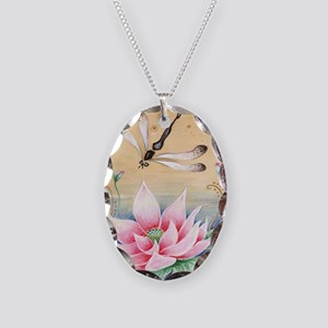 Lotus Dragonfly Art Necklace Oval Charm