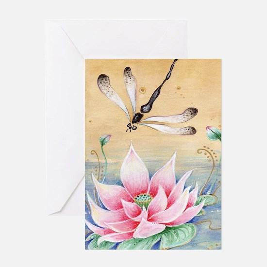 Lotus Dragonfly Art Greeting Card