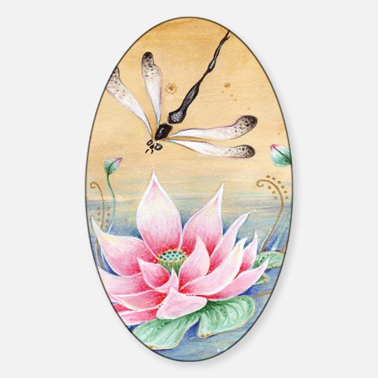 Lotus Dragonfly Art Sticker (Oval)