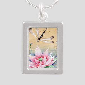 Lotus Dragonfly Art Silver Portrait Necklace