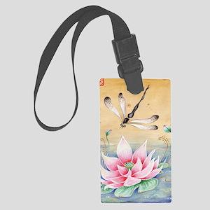 Lotus Dragonfly Art Large Luggage Tag