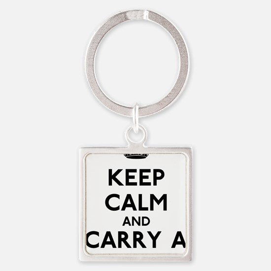 Keep Calm And Carry A Big Stick Square Keychain