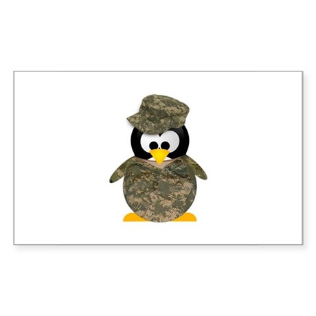 Army Penguin Rectangle Sticker