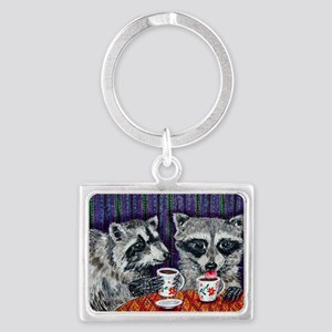 Raccoons at the Cafe Landscape Keychain
