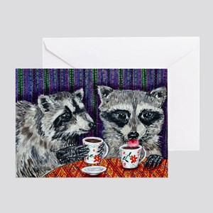 Raccoons at the Cafe Greeting Card