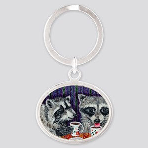 Raccoons at the Cafe Oval Keychain