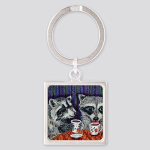 Raccoons at the Cafe Square Keychain