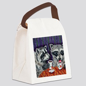 Raccoons at the Cafe Canvas Lunch Bag
