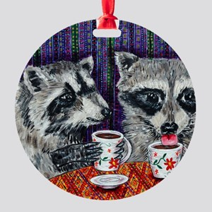 Raccoons at the Cafe Round Ornament