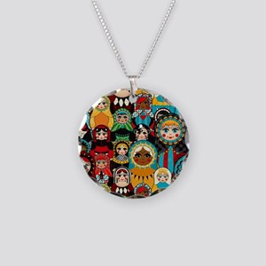Matryoshka Necklace Circle Charm