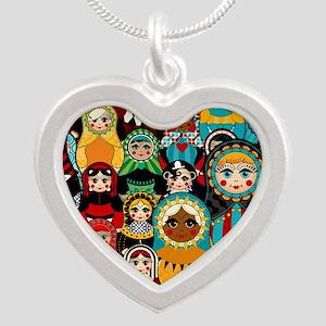 Matryoshka Silver Heart Necklace