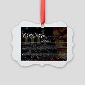 U.S. Outline - Constitution Picture Ornament