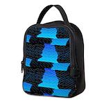 Blue Sea Snake Pattern S Neoprene Lunch Bag