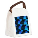 Blue Sea Snake Pattern S Canvas Lunch Bag
