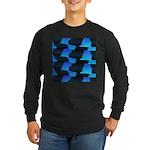 Blue Sea Snake Pattern S Long Sleeve T-Shirt