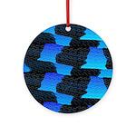Blue Sea Snake Pattern S Ornament (Round)