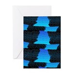 Blue Sea Snake Pattern S Greeting Cards