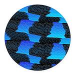 Blue Sea Snake Pattern S Round Car Magnet