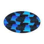 Blue Sea Snake Pattern S Oval Car Magnet