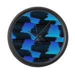 Blue Sea Snake Pattern S Large Wall Clock