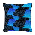 Blue Sea Snake Pattern S Woven Throw Pillow