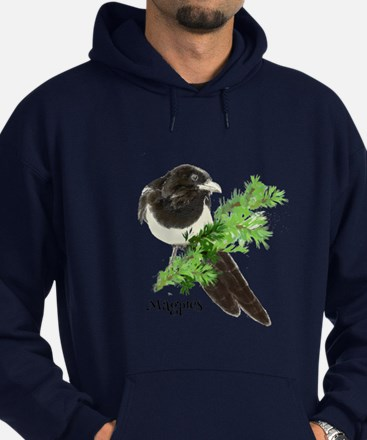 Curious watercolor Magpie Bird Nature Art Hoodie