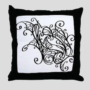 Black Swirly Lace Throw Pillow