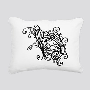 Black Swirly Lace Rectangular Canvas Pillow