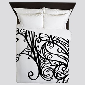 Black Swirly Lace Queen Duvet