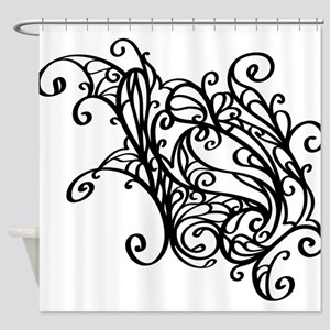 Black Swirly Lace Shower Curtain