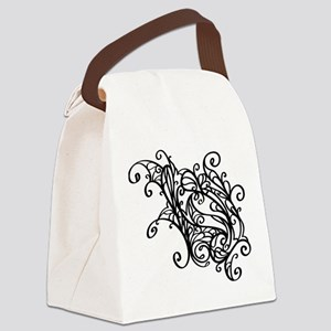 Black Swirly Lace Canvas Lunch Bag