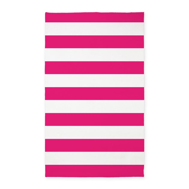 Hot Pink And White Stripes 3'X5' Area Rug By InspirationzStore