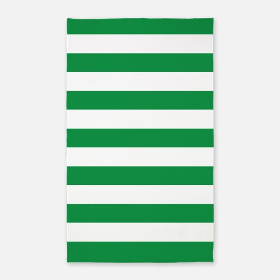 Green And White Stripes 3'X5' Area Rug