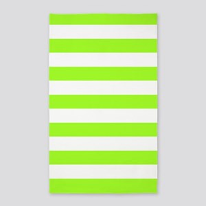 Lime Green And White Stripes 3'X5' Area Rug