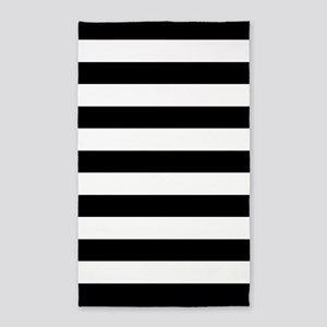 Black And White Stripes 3'X5' Area Rug