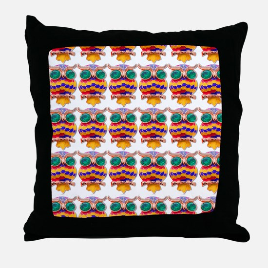 Jewelled Owls Throw Pillow