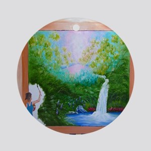 The Artist Shower Curtain Round Ornament