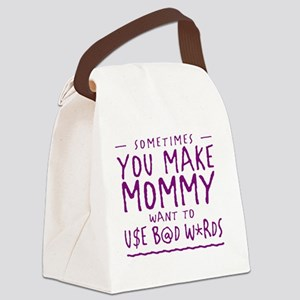 Mommyw Bad Words-purple Canvas Lunch Bag