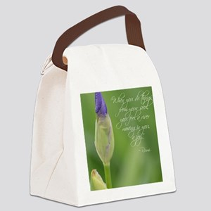Iris with Rumi Quote Canvas Lunch Bag