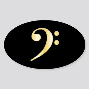 """Gold"" Bass Clef Oval Sticker"