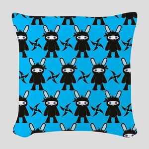 Turquoise and Black Ninja Bunn Woven Throw Pillow